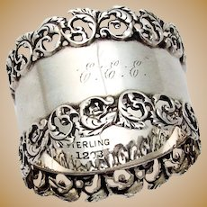 Foliate Scroll Openwork Border Napkin Ring Sterling Silver 1905