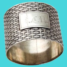 Braided Design Napkin Ring Wood Hughes Coin Silver 1870