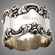 Blackinton Sterling Silver Napkin Ring Floral Scroll Rim