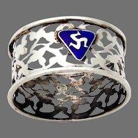 English Sterling Silver Openwork Napkin Ring Blue Enamel Badge 1920