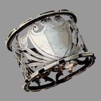 English Openwork Napkin Ring Blank Shield Sterling Silver 1909