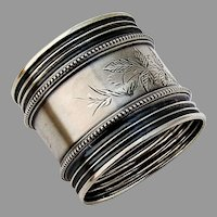 Beaded Foliate Engraved Napkin Ring Wide Borders Coin Silver