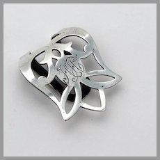 Webster Pierced Napkin Clip Sterling Silver Mono
