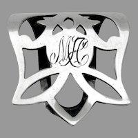 Pierced Design Napkin Clip Webster Sterling Silver Mono