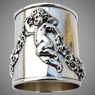 William Kerr Figural Cherub Napkin Ring Sterling Silver 1900
