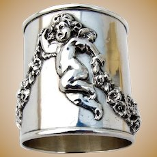 William Kerr Figural Cherub Napkin Ring Sterling Silver 1900