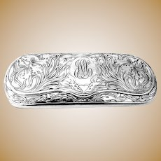 Blackinton Eyeglass Case Acid Etched Lilies Sterling Silver 1910