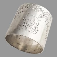 Wood And Son Floral Napkin Ring Sterling Silver 1890 Mono