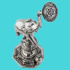 Indian Elephant Rose Water Sprinkler Sterling Silver 1900