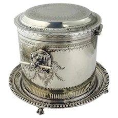 Atkin Bros Engraved Biscuit Barrel Dog Head Handles Victorian Silverplate