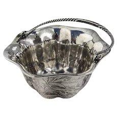 Floral Chased Sugar Basket Twist Handle Sterling Silver 1880s