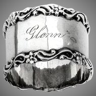 Applied Scroll Floral Border Napkin Ring National Sterling Silver
