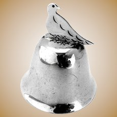 Sterling Silver Bell Figural Bird Handle