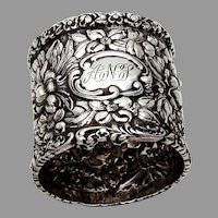 Early Stieff Rose Napkin Ring Baltimore Sterling Silver 1892 ANS