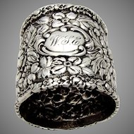 Stieff Rose Napkin Ring Baltimore Sterling Silver 1892 WSE