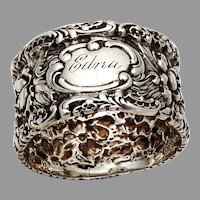 Stieff Rose Napkin Ring Sterling Silver 1910 Edna