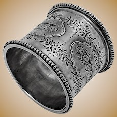 Large Beaded Engraved Napkin Ring Coin Silver 1880