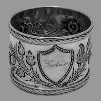 Repousse Floral Shield Napkin Ring Coin Silver 1880