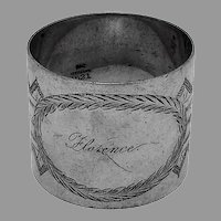 Gorham Engraved Napkin Ring Sterling Silver 1890