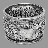 Ornate Openwork Napkin Ring South East Asia Sterling Silver