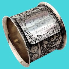 Aesthetic Lotus Diamond Napkin Ring Wood Hughes Coin Silver