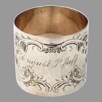 Floral Engraved Napkin Ring Sterling Silver 1885