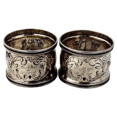 Foliate Scroll Napkin Rings Pair Reeded Beaded Rims Coin Silver
