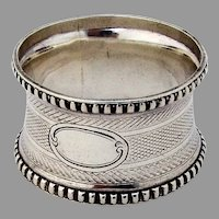 Engine Turned Coin Silver Napkin Ring Beaded Rims 1860 No Mono
