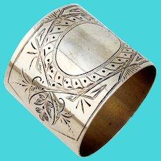 Engraved Wide Napkin Ring Coin Silver 1870 No Mono