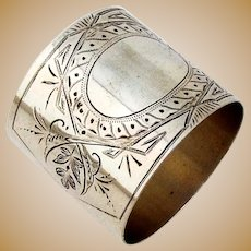 Engraved Wide Napkin Ring Coin Silver 1870 No Mono