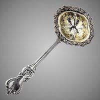 Russian 84 Silver Tea Strainer Floral Berry Rim Gilt Interior 1852