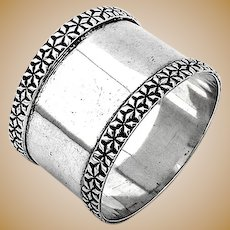 Stylized Floral Napkin Ring National Sterling Silver 1910