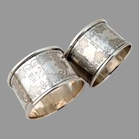 Engraved Napkin Rings Pair German 800 Silver 1874 Mono