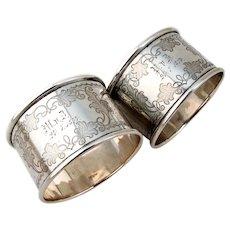 Engraved Napkin Rings Pair German 800 Silver 1874 Mono