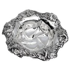 High Relief Hibiscus Vegetable Serving Bowl Unger Bros Sterling Silver