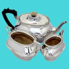 Lobed 3 Piece Tea Set Gadroon Rims Elkington Silverplate 1897