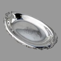 Tiffany Co Bread Tray Floral Scroll Rim Sterling Silver 1900 Mono