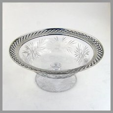Cut Glass Footed Bowl Openwork Sterling Border 1940 Mono