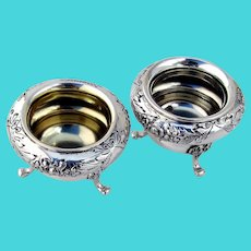 Floral Footed Open Salt Dishes Pair Tostrup 830 Silver Mono