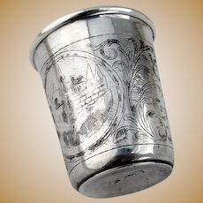 Engraved Vodka Cup Russian 84 Silver 19th Century