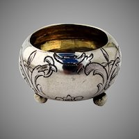 Engraved Open Salt Dish Ball Feet Russian 84 Silver