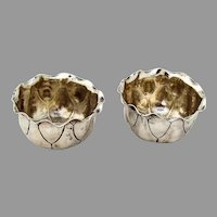 Aesthetic Open Salts Nut Cups Pair Shiebler Sterling Silver 1880