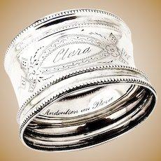 Engraved Coin Silver Napkin Ring Inscribed