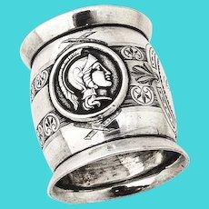 Double Female Warrior Medallion Napkin Ring Coin Silver
