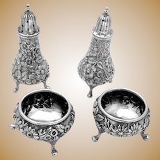 Repousse Footed Open Salts Pepper Shakers Set Sterling Silver