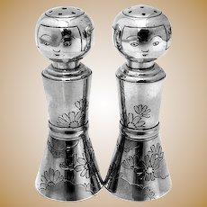 Engraved Floral Kokeshi Doll Salt Pepper Shakers Set 970 Sterling Silver