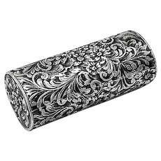 Floral Scroll Lipstick Holder Compact 800 Silver