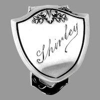 Webster Shield Form Napkin Clip Sterling Silver Shirley