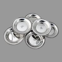 Butter Pats Nut Dishes Set Mono B International N121  Sterling Silver 1930