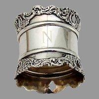 Wide Scroll Border Napkin Ring Sterling Silver 1890 Mono